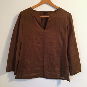 Theory brown long sleeve eyelet cotton blouse